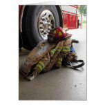 Fireman's gear and truck greeting card