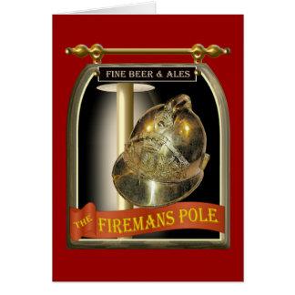 Firemans Pole Pub Sign Card
