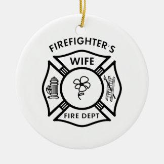 Fireman's Wife Round Ceramic Decoration