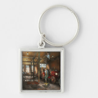 Firemen - Answering the firebell 1922 Silver-Colored Square Key Ring
