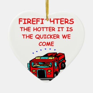 firemen ceramic heart decoration