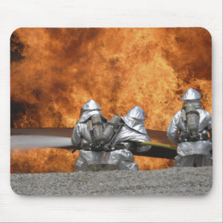 Firemen neutralize a fire mouse mat