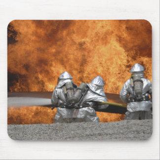 Firemen neutralize a fire mouse pad