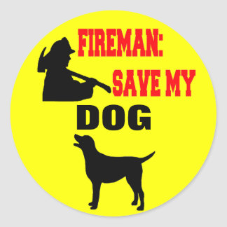 Firemen Save My Dog Classic Round Sticker