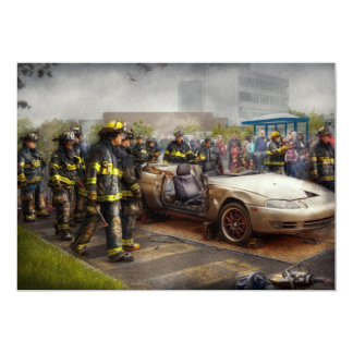 Firemen - The fire demonstration 13 Cm X 18 Cm Invitation Card