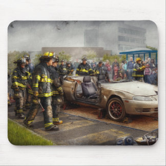 Firemen - The fire demonstration Mouse Pads