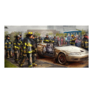 Firemen - The fire demonstration Photo Greeting Card
