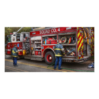 Firemen - The modern fire truck Photo Greeting Card