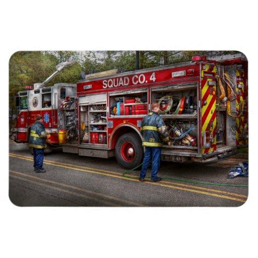 Firemen - The modern fire truck Rectangular Magnet