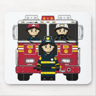 Firemen with Fire Engine Mousepad