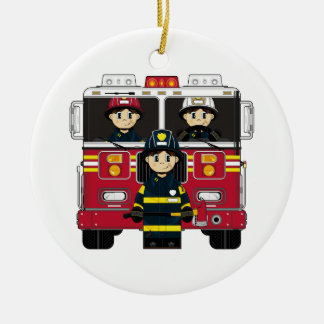 Firemen with Fire Engine Ornament