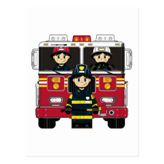 Firemen with Fire Engine Postcard