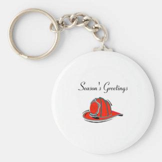 Firemens Seasons Greetings Basic Round Button Key Ring