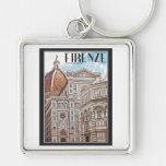Firenze Duomo Silver-Colored Square Key Ring