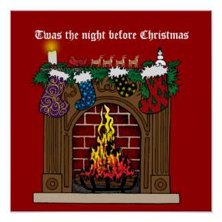 Fireplace on Christmas Eve Poster