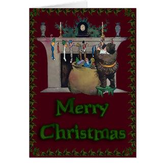 Fireplace Santa Stockings Card
