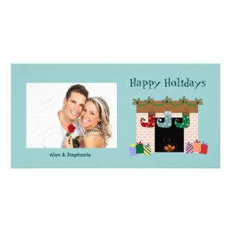 Fireplace Stockings Holiday Photo cards