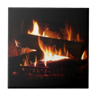 Fireplace Warm Winter Scene Photography Tile