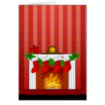 Fireplace with Christmas Decorations Red Wallpaper