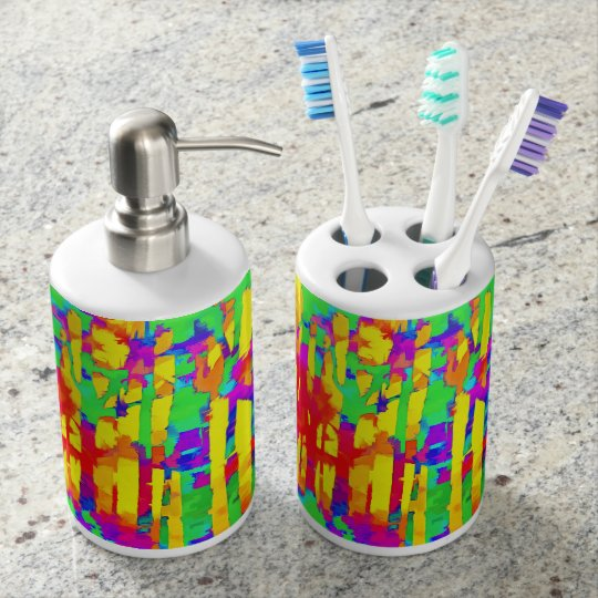 Fires And Passion Three Soap Dispenser And Toothbrush Holder