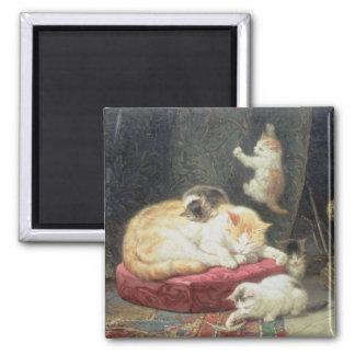 Fireside Bliss (oil on panel) Square Magnet