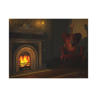 Fireside Guitar Stretched Canvas Prints