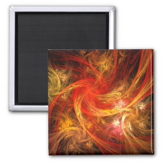 Firestorm Abstract Art Square Magnet