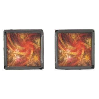 Firestorm Nova Abstract Art Gunmetal Finish Cuff Links