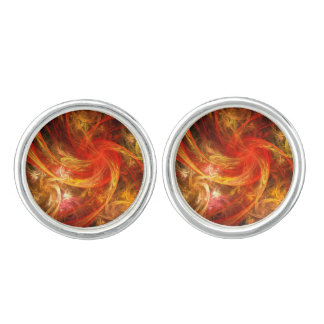Firestorm Nova Abstract Art Silver Plated Cuff Links
