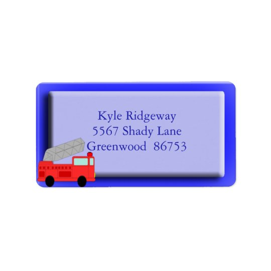 Firetruck Address Label