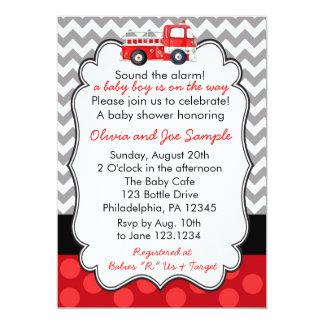 Firetruck Baby Shower Invitation