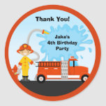 Firetruck Birthday Party Favour Stickers