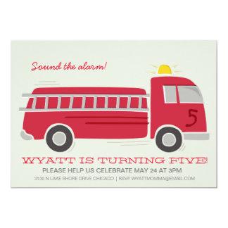"""Firetruck Birthday Party Invite 5"""" X 7"""" Invitation Card"""