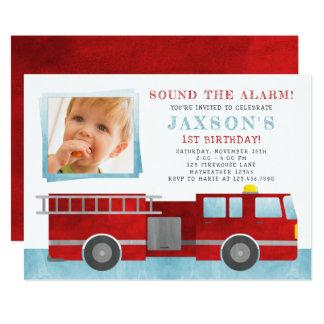 Firetruck Birthday Party Photo Invitation