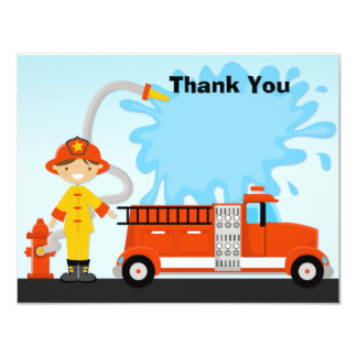 Firetruck Birthday Party Thank You Card