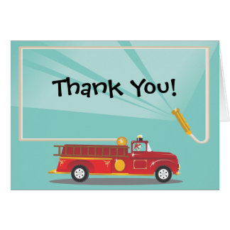 Firetruck Birthday Party Thank you Notes Greeting Cards