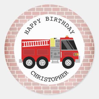 Firetruck + Bricks Birthday Party Sticker
