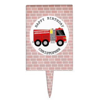 Firetruck+ Bricks Firefighter Birthday Party Cake Toppers