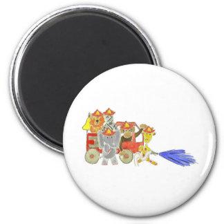 Firetruck Critters 6 Cm Round Magnet