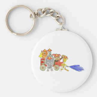 Firetruck Critters Basic Round Button Key Ring