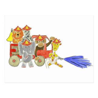 Firetruck Critters Postcard
