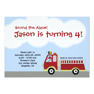 Firetruck Fire Engine Birthday Invitation