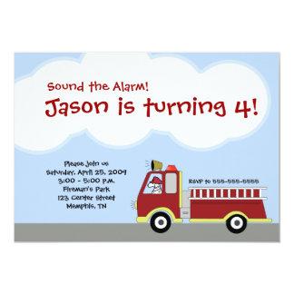 Firetruck Fire Engine Birthday Invitation