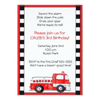 Firetruck Fire Truck Man Birthday Party Invitation