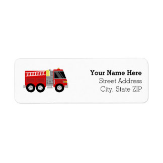 Firetruck Firefighter Birthday Party Return Address Label