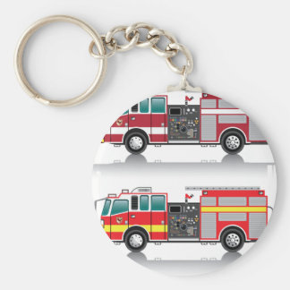 Firetruck Vector Basic Round Button Key Ring