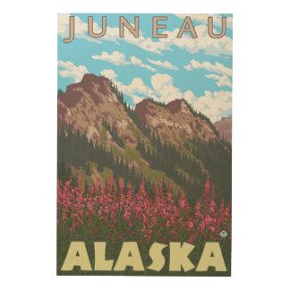 Fireweed & Mountains - Juneau, Alaska Wood Wall Art