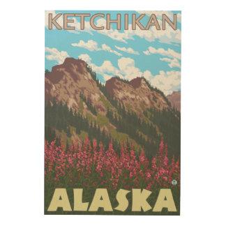 Fireweed & Mountains - Ketchikan, Alaska Wood Print