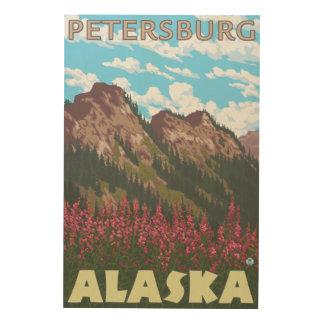Fireweed & Mountains - Petersburg, Alaska Wood Print