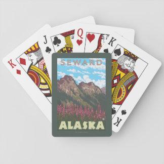 Fireweed & Mountains - Seward, Alaska Playing Cards
